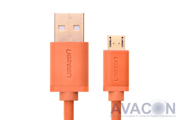 Кабель интерфейсный USB 2.0  1.0m Premium UGreen, AM / microB 5pin, 28 / 24 AWG экран, оранжевый