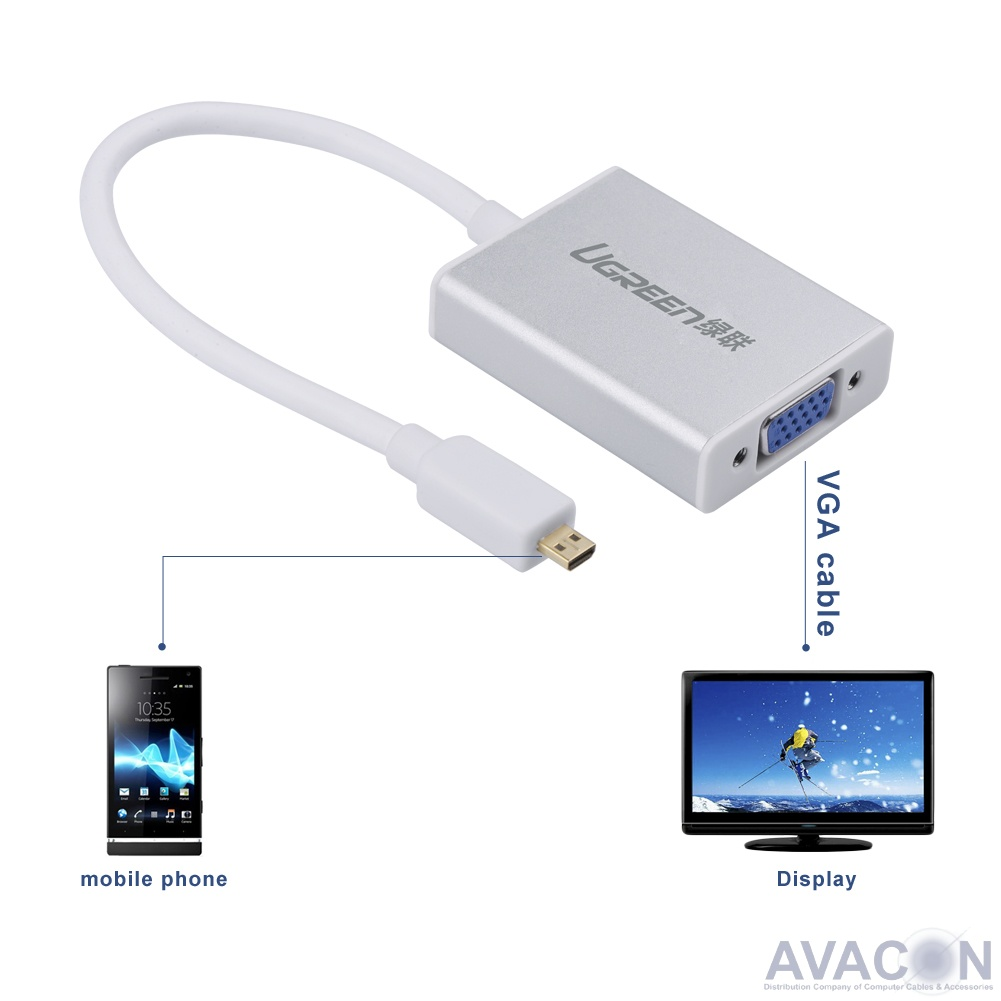 Мультимедиа professional конвертер Micro HDMI->VGA UGreen + audio + micro USB алюминиевый корпус