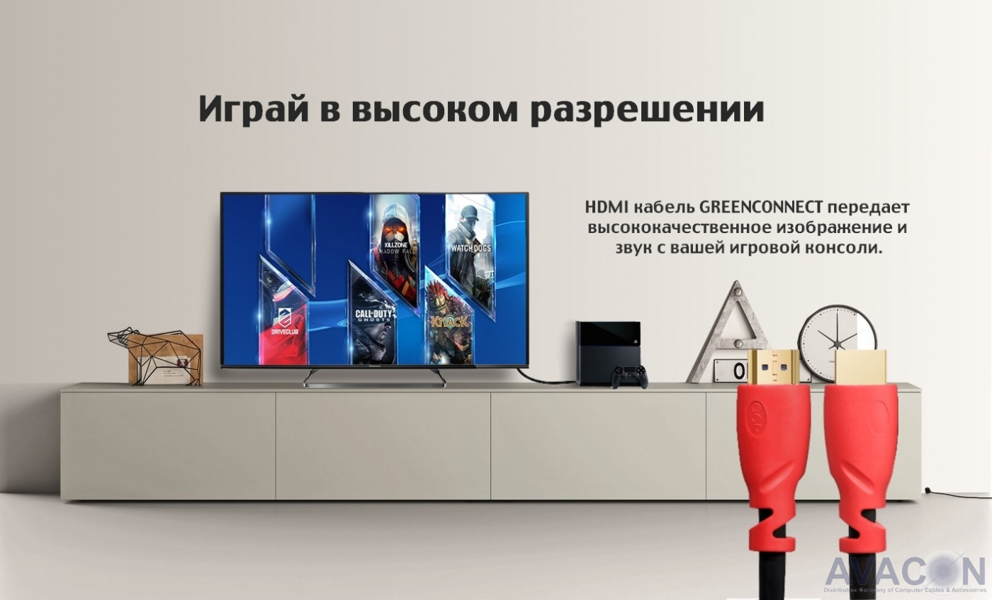 Greenconnect Кабель 5.0m HDMI 2.0, HDR, Ultra HD 4K60 Hz/ 5K30Hz, 3D, Ethernet 18.0 Гбит/с, OD8.0mm, 28/26 AWG, черный