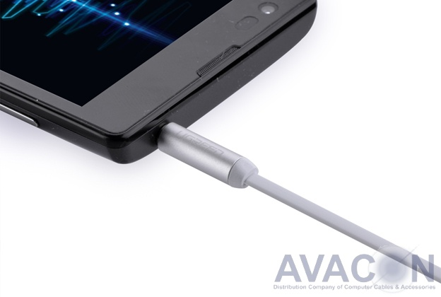 Кабель аудио  0.5m jack 3,5mm/jack 3,5mm AM/AM, UGreen, белый, 28 AWG, экран, стерео