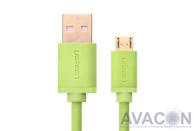 Кабель интерфейсный USB 2.0  1.0m Premium UGreen, AM / microB 5pin, 28 / 24 AWG экран, зеленый