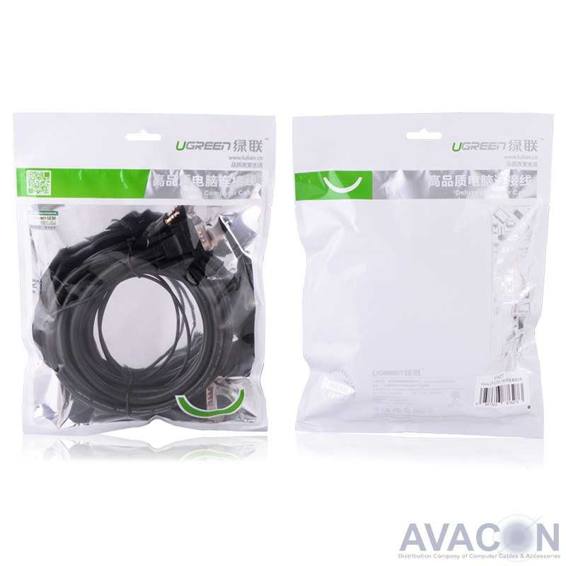 Кабель SVGA  2.0m SVGA+AUDIO/SVGA+AUDIO 15M/15M UGreen, чёрный, 28AWG/28AWG, экран, DDC