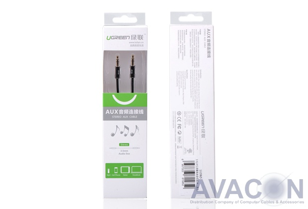 Кабель аудио  2.0m jack 3,5mm/jack 3,5mm AM/AM, UGreen, черный, 28 AWG, экран, стерео